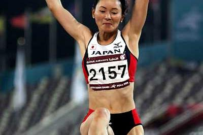 Kumiko Ikeda (JPN) wins the women's Long Jump at the Asian Games (Getty Images)