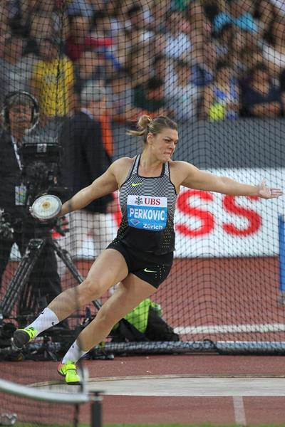 Sandra Perkovic in the discus at the IAAF Diamond League meeting in Zurich (Jean-Pierre Durnad)