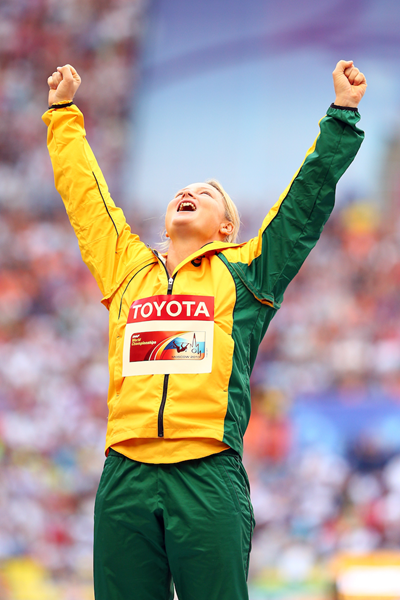 Kim Mickle celebrates her silver medal at the 2013 IAAF World Championships (Getty Images)