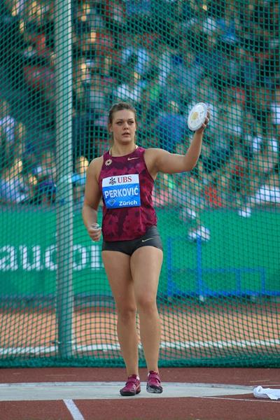 Sandra Perkovic at the 2014 IAAF Diamond League final in Zurich (Jean-Pierre Durand)