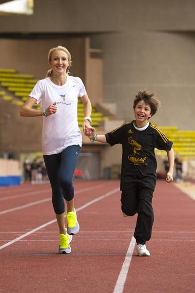 Paula Radcliffe at the IAAF Kids Athletics programme in Monaco to mark the first ever International Day of Sport for Development and Peace (Philippe Fitte)