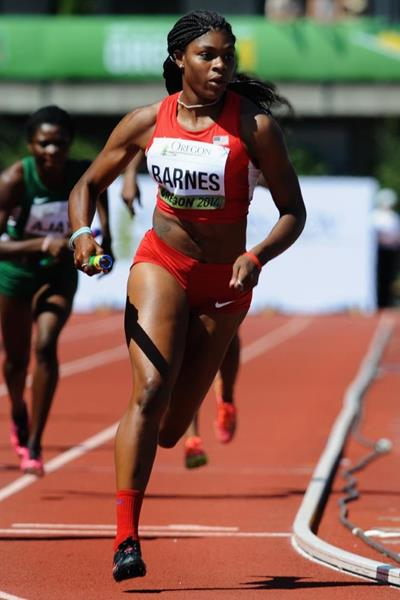 Aaliyah Barnes in the 4x400m at the IAAF World Junior Championships, Oregon 2014 (Getty Images)