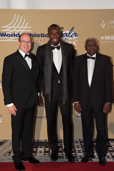 Prince Albert of Monaco, Usain Bolt and Lamine Diack at the 2013 World Athletics Gala (Philippe Fitte)