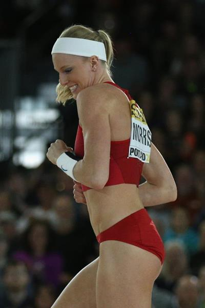 Sandi Morris in the pole vault at the IAAF World Indoor Championships Portland 2016 (Getty Images)