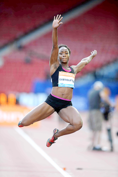 Tianna Bartoletta at the IAAF Diamond League meeting in Glasgow (Jiro Mochizuki)