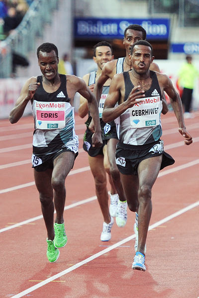 Hagos Gebrhiwet on his way to winning the 5000m at the IAAF Diamond League meeting in Oslo (Mark Shearman)