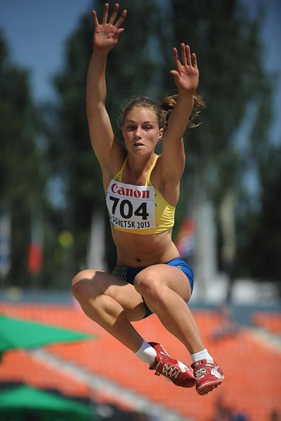 Emma Stenlof in the girls' Long Jump Heptathlon at the IAAF World Youth Championships 2013 (Getty Images)