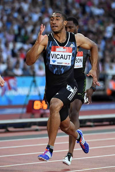 Jimmy Vicaut on his way to winning the 100m at the IAAF Diamond League meeting in London (Kirby Lee)