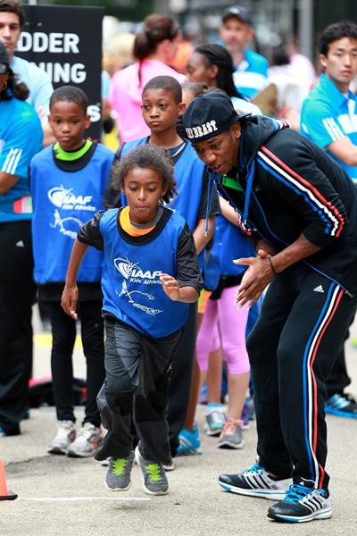 Yohan Blake at the IAAF / Nestlé Kids' Athletics in New York, June 2014 (Victah Sailer / IAAF)