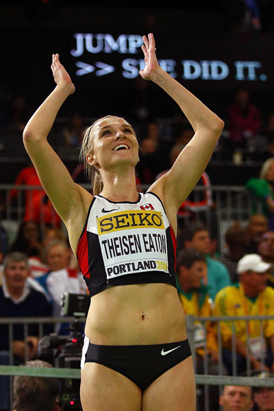 Brianne Theisen-Eaton after winning the pentathlon at the IAAF World Indoor Championships Portland 2016 (Getty Images)
