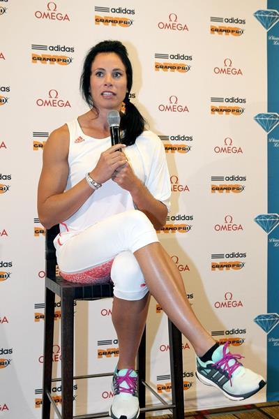 Jenn Suhr ahead of the 2014 IAAF Diamond League in New York (Victah Sailer)