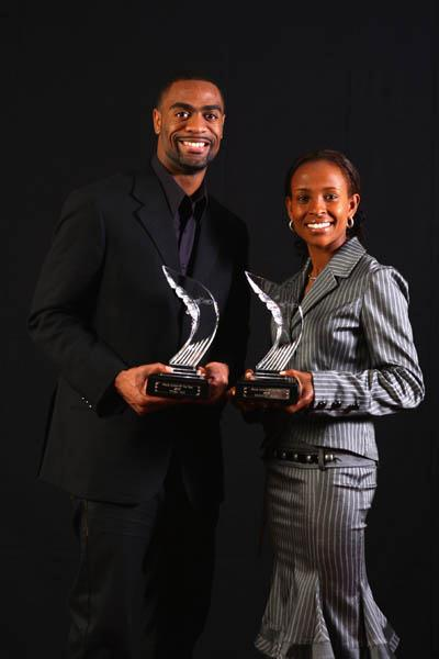 2007 World Athletes of the Year Tyson Gay and Meseret Defar (Getty Images)