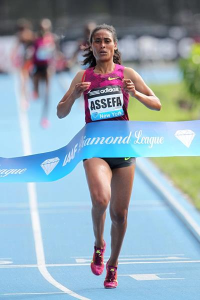 Sofia Assefa winning the 3000m steeplechase at the 2014 IAAF Diamond League meeting in New York (Victah Sailer)