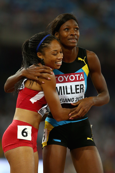 Shaunae Miller and Allyson Felix after the 400m final in Beijing ()