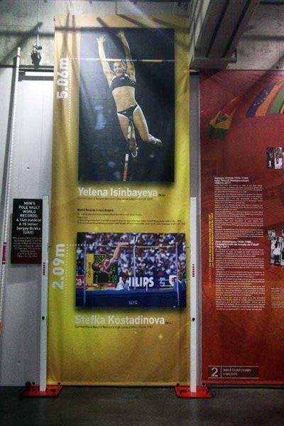 Actual World record heights display - IAAF Centenary Historic Exhibition (Chris Turner / IAAF)