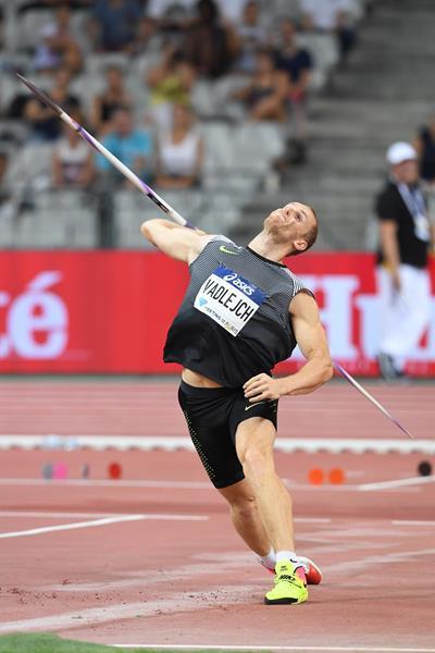 Jakub Vadlejch winning the javelin at the IAAF Diamond League meeting in Paris (Jiro Mochizuki)