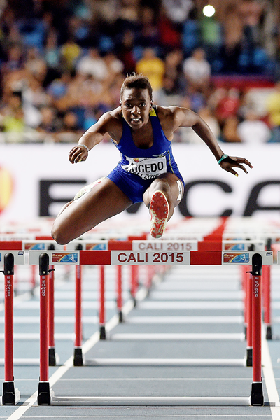 Ecuador's Maribel Caicedo in the 100m hurdles at the IAAF World Youth Championships, Cali 2015 (Getty Images)