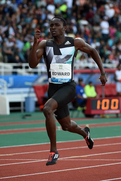 Alonso Edward en route to victory in the 200m at the IAAF Diamond League meeting in Rabat (Kirby Lee)