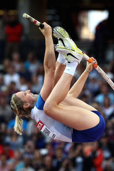 Holly Bradshaw competes at the IAAF World Championships in London (Getty Images)