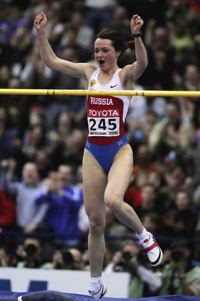 09 OCT 2006 Yelena Slesarenko Of Russia Wins The Womens High Jump Final