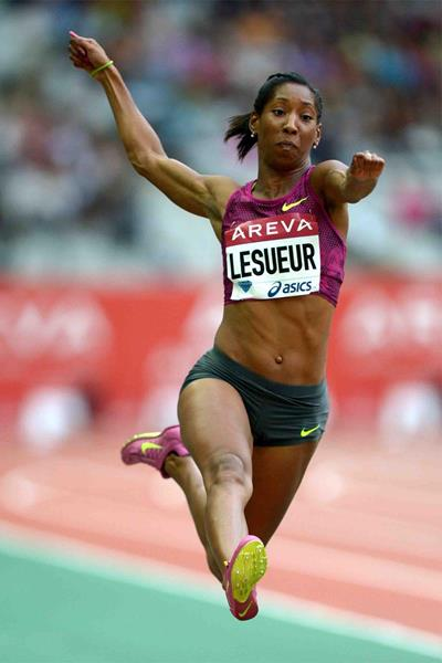 Long jump winner Eloyse Lesueur at the IAAF Diamond League meeting in Paris (Jiro Mochizuki)