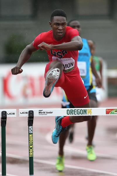 Kenneth Selmon in the 400m hurdles at the 2014 IAAF World Junior Championships in Eugene (Getty Images)