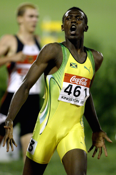 Usain Bolt competes at the 2002 World Junior Championships in Kingston (Getty Images)