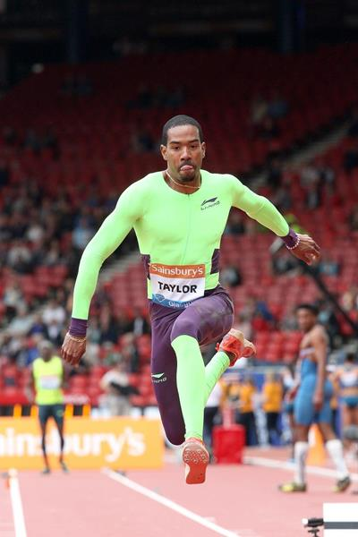 Christian Taylor at the 2014 IAAF Diamond League in Glasgow (Victah Sailer)