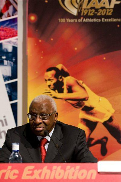 IAAF President Lamine Diack delivers an address during the IAAF Centenary Exhibition Opening Ceremony at the Joan Antoni Samaranch Olympic and Sport Museum in Barcelona (Getty Images)