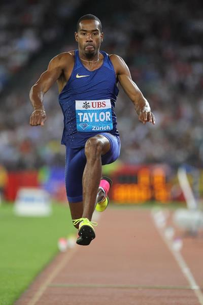 Christian Taylor in the triple jump at the IAAF Diamond League meeting in Zurich (Jean-Pierre Durand)