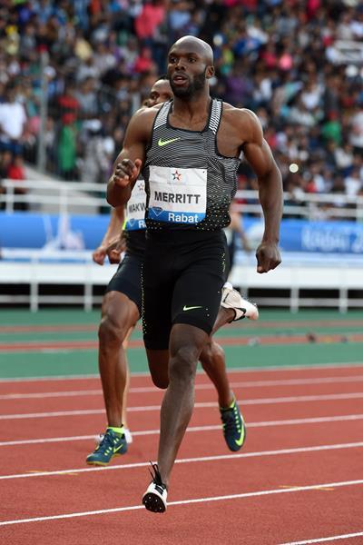 LaShawn Merritt in the 400m at the IAAF Diamond League meeting in Rabat (Kirby Lee)