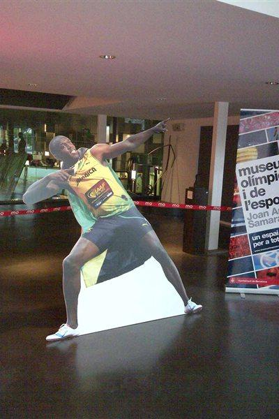 Bolt - life size cutout, entrance to IAAF Centenary Historic Exhibition (Chris Turner / IAAF)