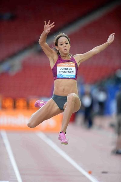 Katarina Johnson-Thompson at the 2014 IAAF Diamond League meeting in Glasgow (Jiro Mochizuki)
