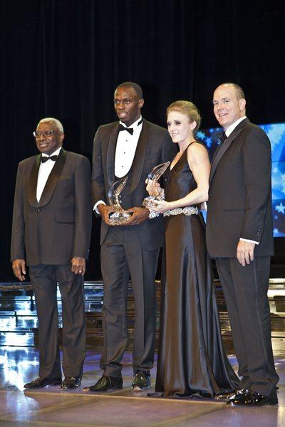 2011 World Athletes of the Year Usain Bolt and Sally Pearson with IAAF President Lamine Diack and HSH Prince Albert of Monaco at the World Athletics Gala (Philippe Fitte)