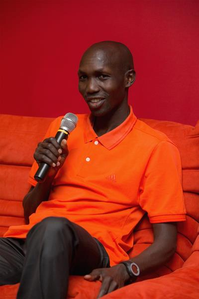 Wilson Kipsang speaks to the press in Monaco (Philippe Fitte)