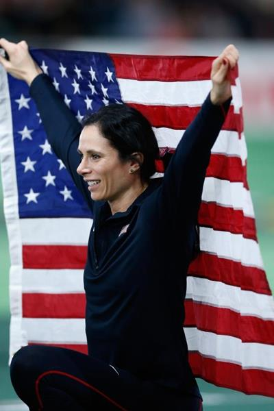 Pole vault winner Jenn Suhr at the IAAF World Indoor Championships Portland 2016 (Getty Images)