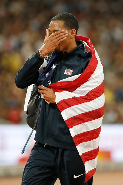 Christian Taylor after winning the triple jump at the IAAF World Championships, Beijing 2015 (Getty Images)