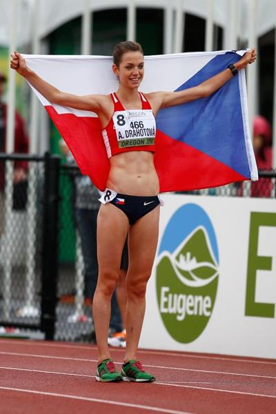 Anezka Drahotova after breaking the world junior record in the 10,000m race walk at the 2014 IAAF World Junior Championships in Eugene (Getty Images)