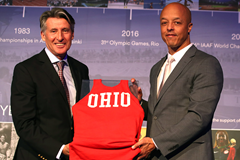 Stuart Rankin, the grandson of Jesse Owens, with an Ohio State vest that was worn by his grandfather (Giancarlo Colombo)