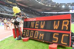 Ruth Jebet after breaking the 3000m steeplechase world record at the IAAF Diamond League meeting in Paris (Jiro Mochizuki)