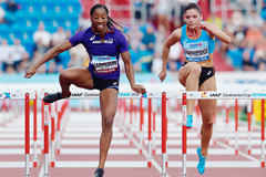 Kendra Harrison in action at the IAAF Continental Cup Ostrava 2018 (AFP / Getty Images)