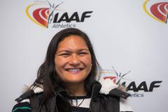 Valerie Adams speaks to the press in Monaco (Philippe Fitte / IAAF)