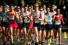 Evan Dunfee leads the men's 20km at the IAAF World Race Walking Team Championships Rome 2016 (IAAF)