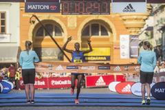 Justus Kangogo winning the Ceske Budejovice Half Marathon (organisers)