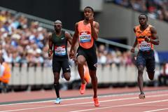 Akeem Bloomfield winning the 200m in London (Getty Images)