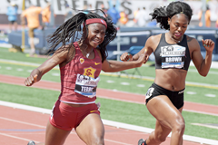 Twanisha Terry wins the 100m at the Mt SAC Relays (Kirby Lee)