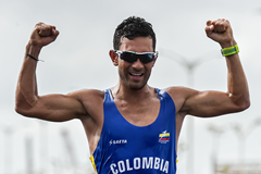 Colombian race walker Eider Arevalo celebrates his victory (AFP / Getty Images)
