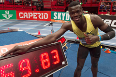 Abdalelah Haroun after winning the 500m at the Globen Galan in Stockholm (Hasse Sjogren)