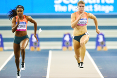 Elaine Thompson and Dafne Schippers in the 60m in Glasgow (Getty Images)