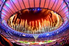 Fireworks explode during the closing ceremony of the Rio 2016 Olympic Games (Getty Images)